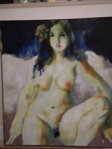 """peinture à l'huile : """"la belle ronde nue"""" Christian HOQUET"""