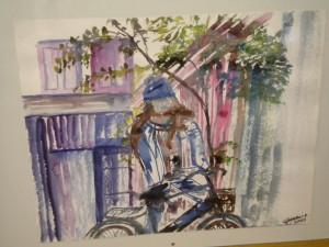 """Aquarelle """"la fille au vélo"""" oeuvre personnelle"""