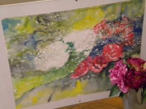 """Aquarelle """"fleurs"""" oeuvre personnelle"""
