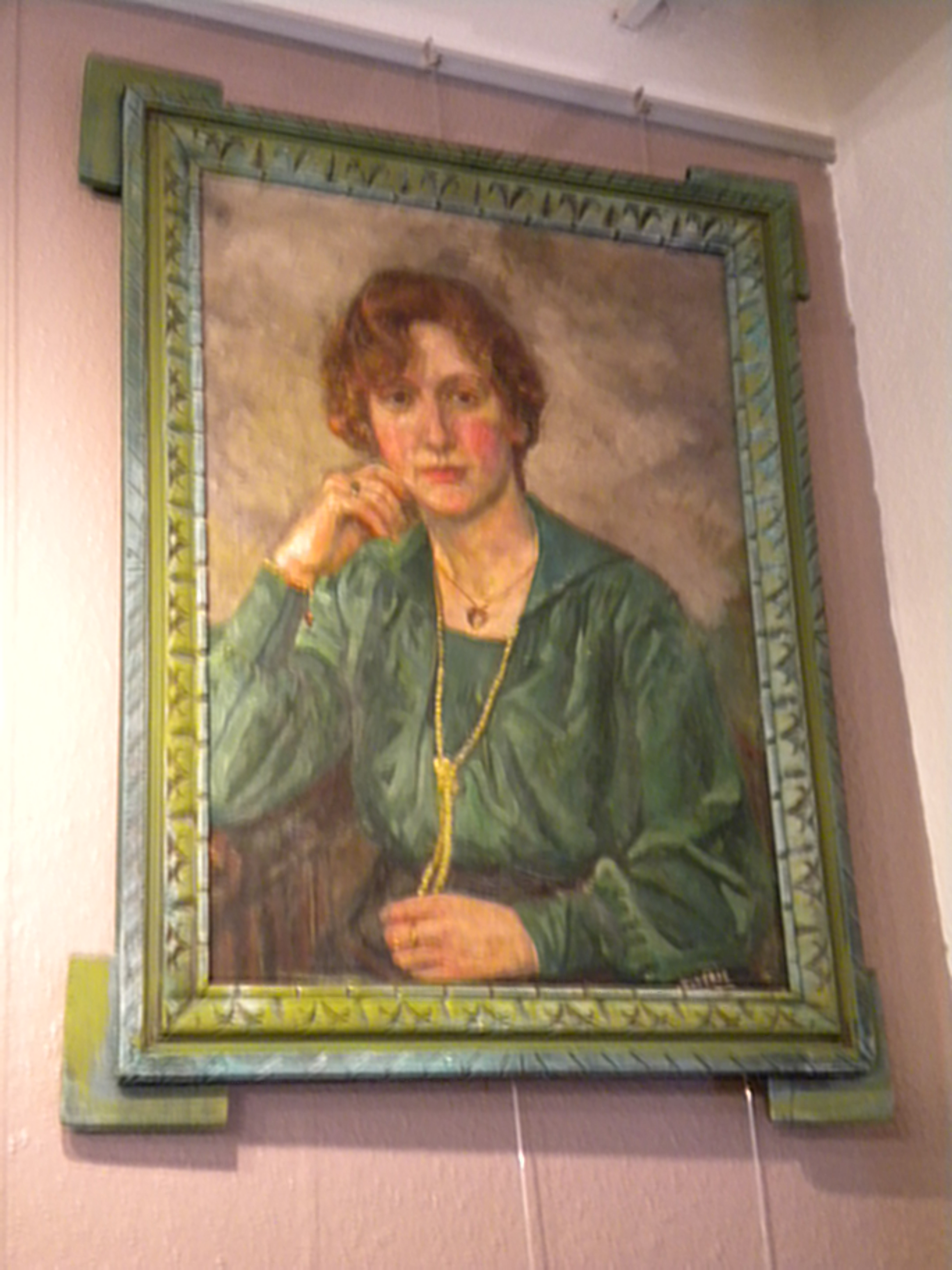 Peinture à l'huile de Boverie : La dame en vert