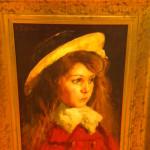 """Peinture sur panneau : """"Portrait de fillette au chapeau"""" Alfred Bastien peintre Bruxellois début du XX° siècle"""