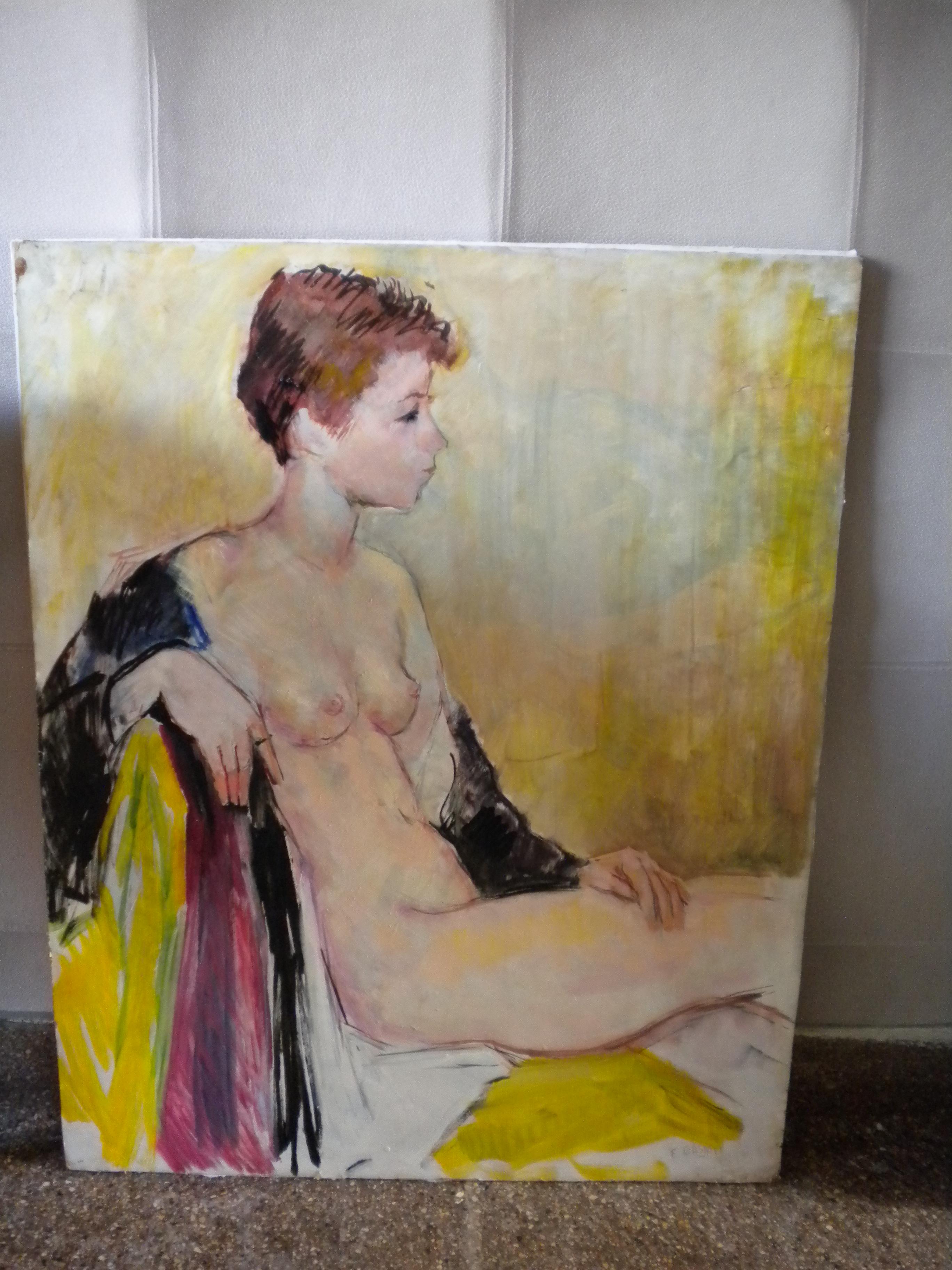 Peinture à l'huile sur panneau léger : Nu d'Ernest GASNIER (Peintre Français)